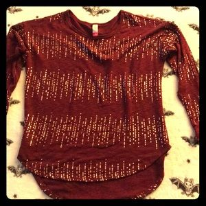 Burgundy and Gold blouse